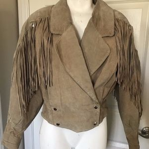 STAGECOACH Suede Tan Leather Jacket Fringe SMALL